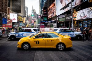 Yellow taxi in New York city